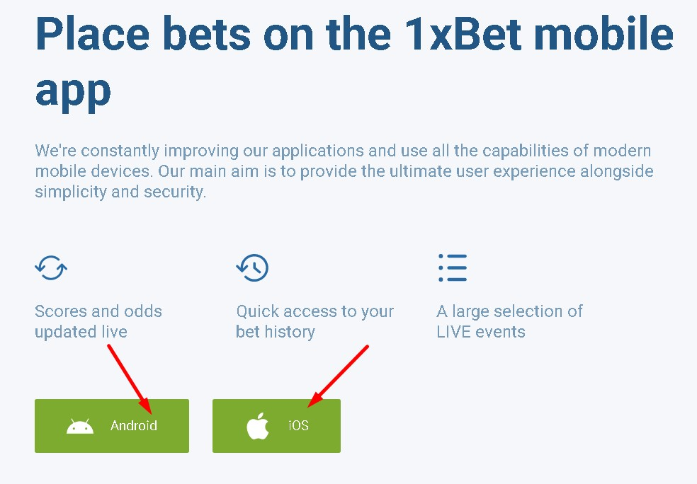 1xBet mobile apps